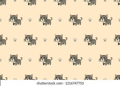 Vector cartoon character cute grey tabby cat seamless pattern for design.
