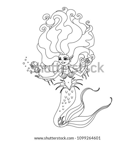 Vector Cartoon Character Cute Mermaid Little Stock Vector Royalty