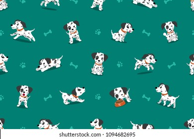 Vector cartoon character dalmatian dog seamless pattern for design.