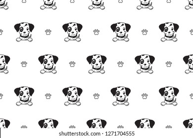 Vector cartoon character dalmatian dog seamless pattern