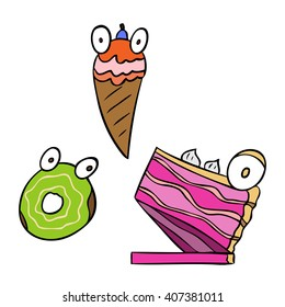 vector cartoon character dessert friend