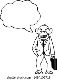 Vector cartoon character drawing conceptual illustration of monkey, ape or chimpanzee businessman in suit and briefcase. Monkey business concept.