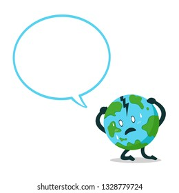 Vector cartoon character earth with speech bubble for design.