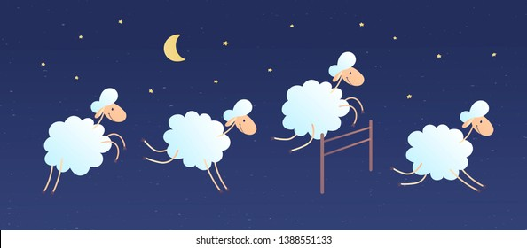 Vector cartoon character illustration. Flock of sheeps flying and jumping over a fence in night sky background with cloud, stars, moon. Concept of counting sheeps, insomnia, baby sleep, dream, relax.