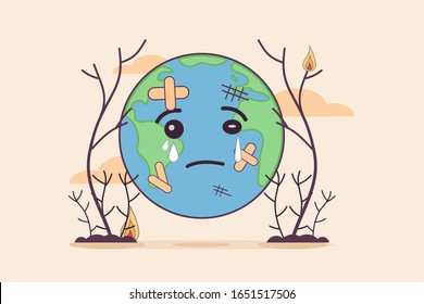 vector cartoon character illustration sad cry earth expression or earth planet sick with forest wood tree destruction and waste pollution. save earth background website banner poster presentation.