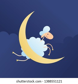 Vector cartoon character illustration. A sheep jumping over a moon on night cloud background. Cute smiling lamb. Concept of trying to sleep, counting sheeps, insomnia, baby sleep, dream, relax.