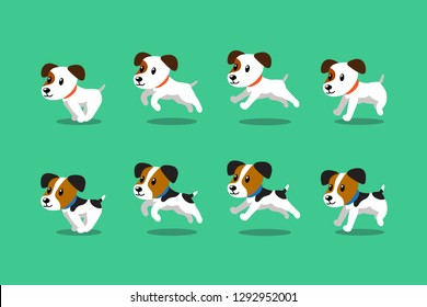 Vector cartoon character jack russell terrier dogs running step for design.