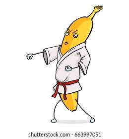 Vector Cartoon Character - Karate Banana on White Background