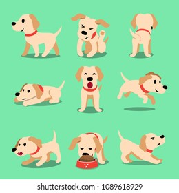 Vector cartoon character labrador dog poses for design.