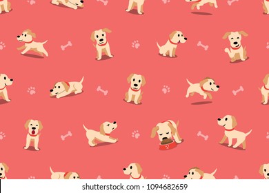 Vector cartoon character labrador dog seamless pattern for design.
