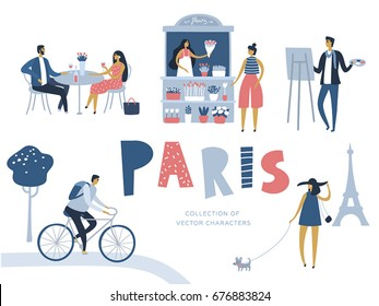 Vector cartoon character. Locals of Paris. Travel poster. Lovers, artist, young woman with dog, bicyclist, flower seller. Flat design, white isolated