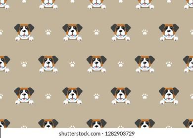 Vector cartoon character saint bernard dog seamless pattern background for design.