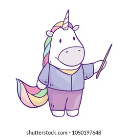 Vector cartoon character unicorn with pointer in hands. Illustration isolated on white background