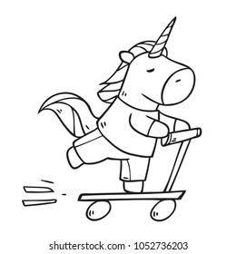 Vector cartoon character unicorn riding by scooter. Illustration isolated on white background