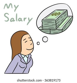 vector cartoon character woman salary