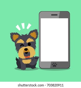 Vector cartoon character yorkshire terrier dog and smartphone