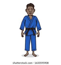 Vector Cartoon Character - Young Afroamerican Man in Blue Judo Kimono