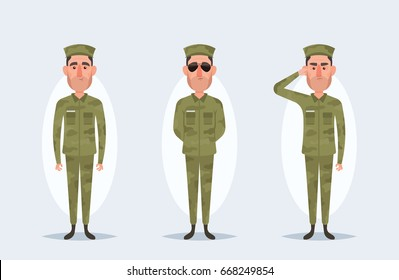 Vector Cartoon Characters - Army Soldier - Set