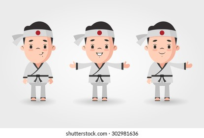 Vector Cartoon Characters Set - Black Belt Karate Masters