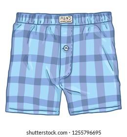 Vector Cartoon Checkered Blue Male Underwear. Cotton Mens Briefs