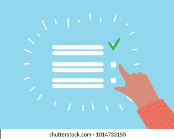 Vector cartoon checklist with green marks and blank copy space on lines over a blue background, vector illustration. Human hand make a mark of vote