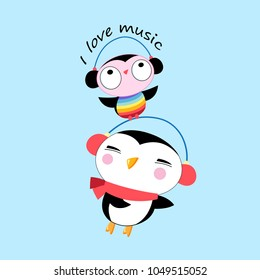Vector cartoon cheerful penguin and owl listening to music. Merry bright postcard.
