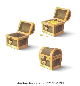 Vector cartoon chests with treasure. Set of game design chests.