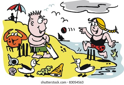 Vector cartoon of children playing on beach