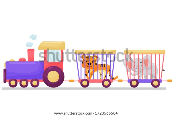 Vector cartoon children train with animals. Flat vivid puffer carrying circus animals on white isolated background