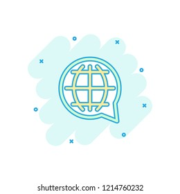 Vector cartoon choose or change language icon in comic style. Globe world communication sign illustration pictogram. World business splash effect concept.