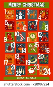 vector Cartoon Christmas Advent Calendar, red background