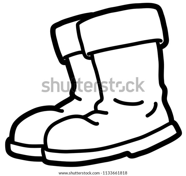 Christmas Boots Drawing.Vector Cartoon Christmas Boots Line Art Stock Vector