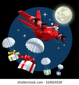 Vector Cartoon Christmas Cargo Airplane