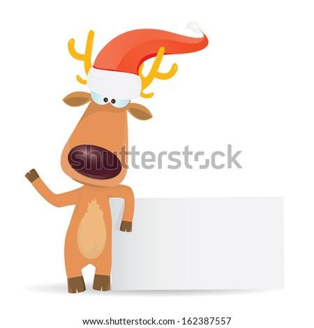 868afae3bb73d vector cartoon Christmas reindeer holding white blank banner for text .  kids merry christmas illustration.
