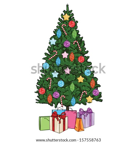 vector cartoon Christmas tree with decorations and gifts - Vector Cartoon Christmas Tree Decorations Gifts Stock Vector