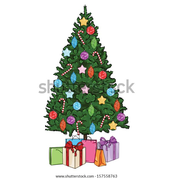 vector cartoon Christmas tree with decorations and gifts