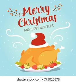 vector cartoon christmas turkey with santa hat greeting card
