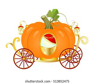 Vector Cartoon Cinderella Orange Pumpkin carriage.