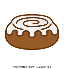 Vector Cartoon Cinnamon Roll Icon Isolated On White Background