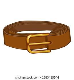 Vector Cartoon Classic Brown Leather Belt with Golden Buckle
