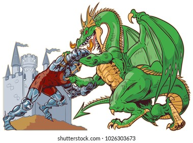 Vector cartoon clip art illustration of a muscular knight mascot wrestling with a tough mean dragon on a castle background. Characters on separate layers.