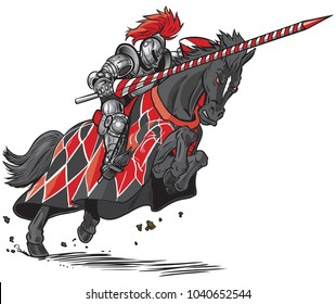 Vector cartoon clip art illustration of an armored knight on a scary black horse with red eyes charging or jousting with a lance and shield.