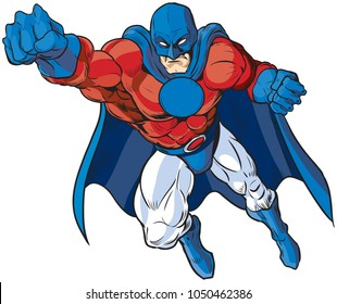 Vector cartoon clip art illustration of a muscular male superhero in a mask and cape in patriotic red white and blue colors, drawn in a comic book style flying pose. The chest emblem is left blank.
