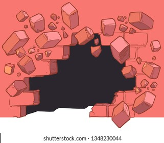 Vector cartoon clip art illustration of a Ground level hole in a red brick wall breaking or exploding out and to the left into rubble or debris. Layered customizable background graphic element.