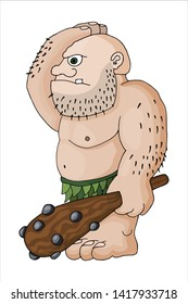Vector cartoon clip art illustration of a tough mean muscular ogre or fantasy giant with a spiked club. Character roleplay fantasy game asset. For sticker, poster, banner, t-shirt print, pin, badges