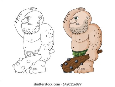 Vector cartoon clip art illustration of a tough mean muscular ogre or fantasy giant with a spiked club. Character roleplay fantasy game asset. Outlined doodle coloring book page for kids.