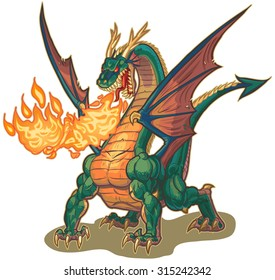 Vector cartoon clip art illustration of a muscular dragon mascot breathing fire with wings spread. The flame is on a separate layer for easy editing.