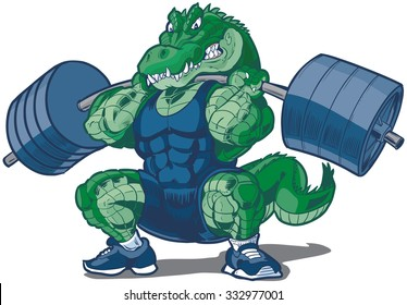 Vector cartoon clip art illustration of a tough mean weightlifting alligator or crocodile mascot wearing a singlet and doing a squat with a barbell.