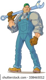 Vector Cartoon Clip Art Illustration of a big tough looking mechanic or engineer or other type of handyman holding a wrench on his shoulder.