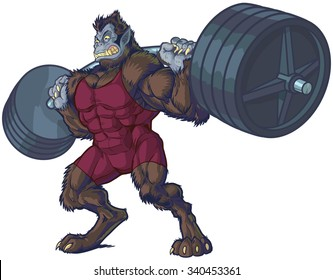 Vector cartoon clip art illustration of a tough mean weightlifting beast man mascot with werewolf and gorilla features wearing a singlet and doing a squat with a barbell.